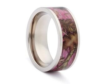 Pink Camo Wedding Rings by ONE CAMO - Pink Camo Flat Titanium Wedding Ring - Birthday Gift