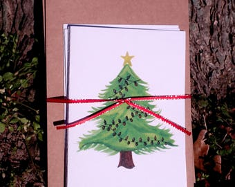 Watercolor, Happy Holidays, Merry Christmas, Hand painted, Christmas Tree Cards