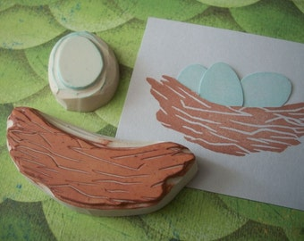 Egg and Nest Rubber Stamp | Hand Carved