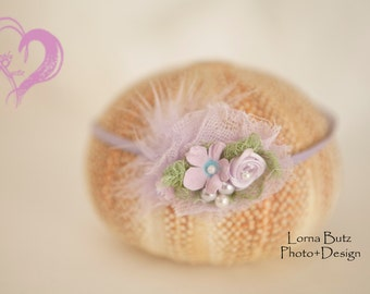 Soft Lavenders  Baby Head tie for newborns in lavenders with feather Shabby Chic baby 1st photo shoots fits all *SHIPS FREE