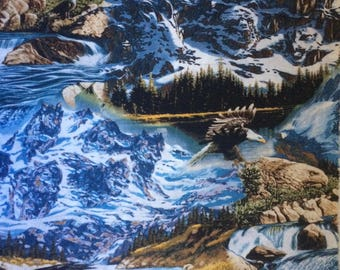 Fabric by the 1/4 Yard - Mysterious Eagle Mountains  Cotton