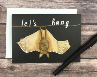 let's hang card - bat card - halloween card - friendship card - miss you card - lets catch up card - halloween invitation - friend card