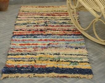 Vintage Moroccan Boucherouite Rug,Handwoven Rug,Bohemian Rug,RefBo319