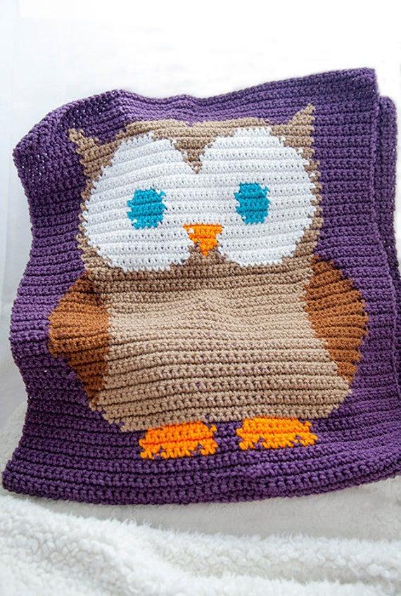 Pattern For Crochet Owl Blanket Owl Baby Blanket Crochet