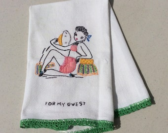 Vintage Embroidered Guest Towel Sexy Pin Up Girl Powders Her Face Retro Risque Applique