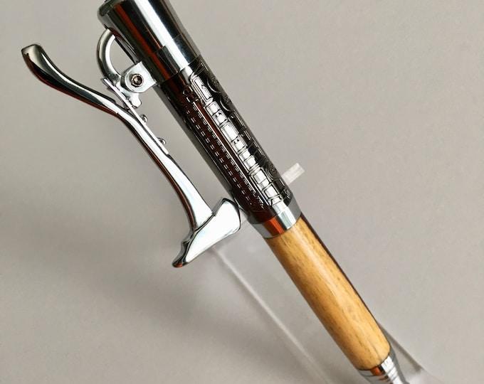 Firemans Click Ballpoint Pen Kit - Gunmetal & Chrome with Kingwood Custom Hand-Turned Body