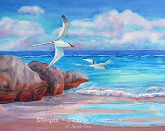 Custom beach painting from photo, watercolor or oil art commission, original tropical beach wall art, coastal artwork by Janet Zeh