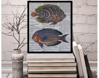 Blue Vintage Fish Print Vintage Fish Print, Beach Decor, Marine Life Decor, size 8x10, Vintage Dictionary Page Print, Fish Marine Decor
