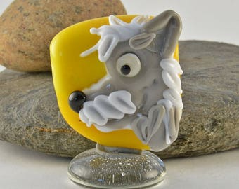 YELLOW and grey dog head sculpture  lampwork glass bead, whimisical lampwork focal bead, Izzybeads SRA