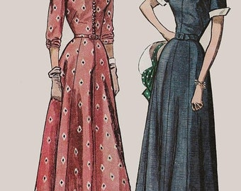 ON SALE Vintage 40s BEST Glamorous Lucy Dress w/ 8 gore Skirt Stand Up Collar Cuffs Sewing Pattern Simplicity 2756 Size 14 Bust 32 Uncut