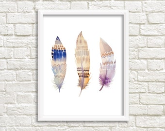 Three Feathers Print, Printable Art, Feather Art, Wall Decor, instant Download, Wall Art, Home Decor, watercolor feathers print, boho print