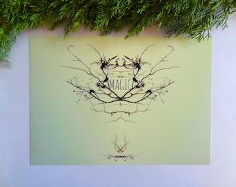Printable art, digital download, mirror photograph, botanical wall art, greenery, mirror image, magic photograph, magic, emblem