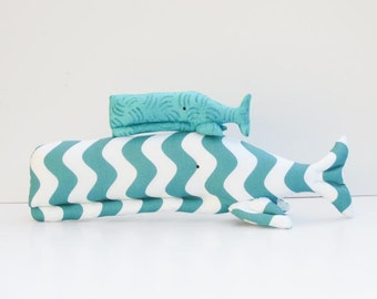 Stuffed whale plush sofie whales big and small sea creatures child friendly toy teal turquoise fish nautical sea ocean baby shower gift