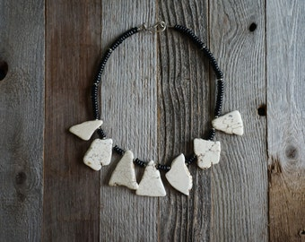 White Slab Statement Necklace, White and Black Necklace, Free Form Stone Necklace, Chunky Stone Necklace, Howlite Necklace
