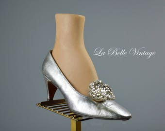 Herbert Levine Silver Pumps US 8 UK 6 Vintage 60s Jeweled Cocktail Party Shoes