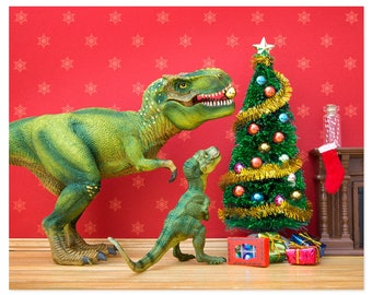 Funny Christmas dinosaur decor - The Holly and the T. Rex