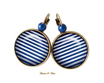 Earrings * striped * bronze cabochon glass earrings blue white stripes