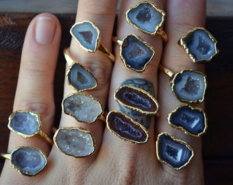 GEODE WRAP RING /// Gold & Silver