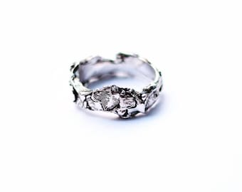Band ring Silver 925 woman/man/Textured and Oxidized Wrap Ring/Ring/Ring/Jewelry/Rustic Rustic Wrap For Him/For Her