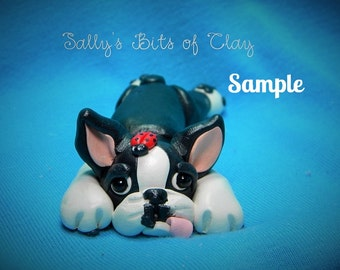Boston Terrier Dog on tummy with ladybug on head OOAK polymer clay art by Sally's Bits of Clay