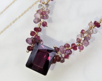 Magenta Tourmaline Necklace, Emerald cut Tourmaline - 14K Gold - Stunning