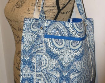 Large Tote Bag, Re-usable grocery tote, Blue Paisley tote, Leather like bottom, Snap closure tote