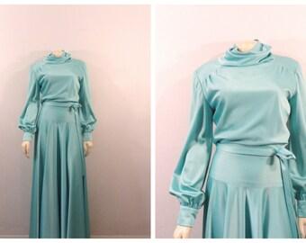 "Vintage Dress 60s 70s Light Blue Satin Formal Gown Long Sleeve Dress Belted Drop Hip Turtleneck 260""+ Sweep Grand Sweep  Modern Size Medium"