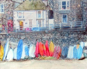 Mousehole Cornwall Print Cornish Art drawing picture Morena Artina signed