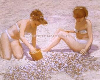 Beach print two girls on sand, seashore, ocean, seashells, shore, teenagers, paintings, bikinis, seaside, pink, 8x10, 11x14, 12x18, shells