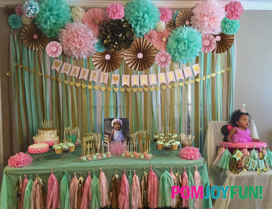 Party Decor Backdrop, Backdrop For Birthday, Backdrop For Baby Shower,  Backdrop For Wedding, Fans, Pom Wheels, Medallion, Poms And Rosettes