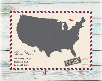 Printable Air Mail We've Moved Announcement - Digital File