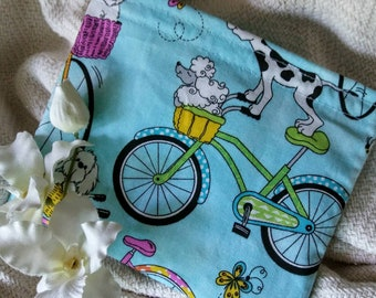 "Child's Snack Bag, Child's Sandwich Bag, Reusable Snack Bag, Party Favor, Kids Snack Bag, Teacher Gift, ""Dogs on Bikes!"""