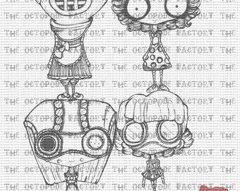 INSTANT DOWNLOAD Steampunk Misses set of 4 Digital Stamp Images