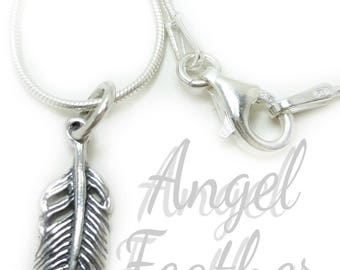 Angel Feather silver Necklace, silver feather Memory necklace, Bereavement gifts, silver feather necklace, loss necklace, pet loss necklace