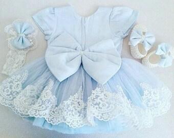 Sky-blue lace dress | baby lace dress |  lace with bowknots