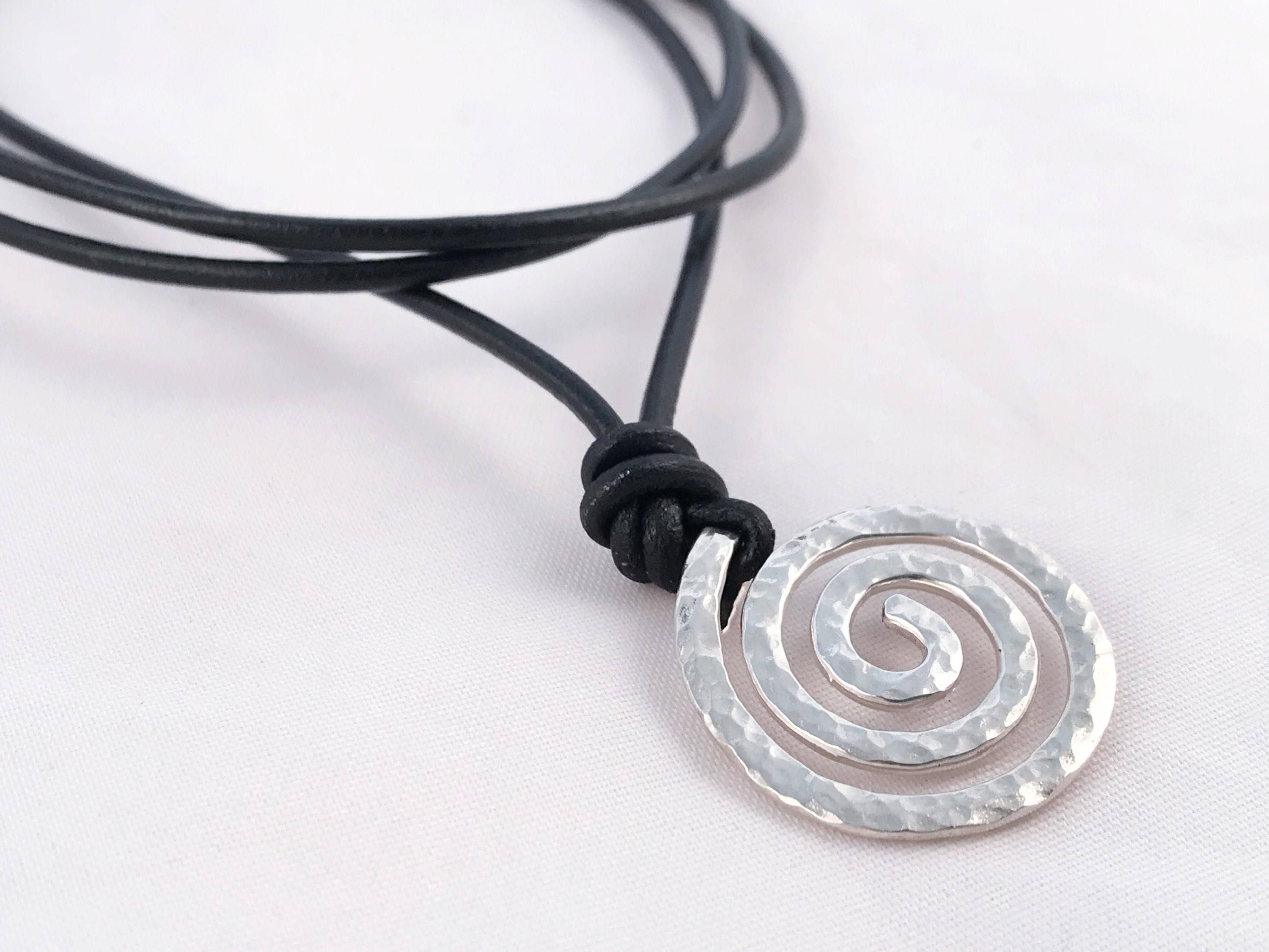 com maori necklace spiral amazon leather tranquility peace on koru pewter and dp pendant