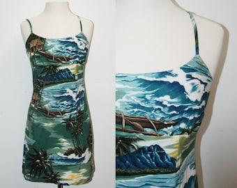 VINTAGE Hawaiian Resort Mini Dress / Size Large