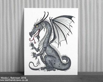 Dragon Art Print, Silver Dragon Print, Dragon Wall Art, Dragon Decor, Heraldic Dragon, Dragon Illustration, Dragon For Kids Room Fantasy Art