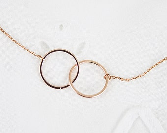 Double Circle Necklace Bridesmaid Necklace Bridesmaid Gift Rose gold Two Circle Necklace