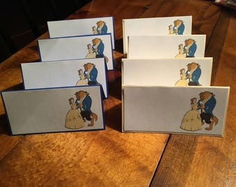 12 Disney Inspired Beauty and the Beast Place Food Tent Cards