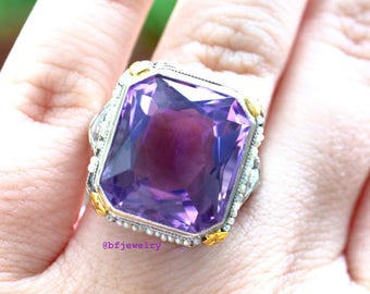 Vintage 18K Gold Amethyst And Seed Pearl Ring