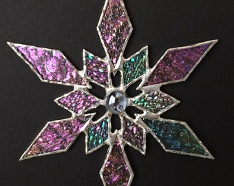 stained glass snowflake suncatcher (design 31)