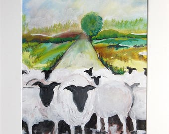 Sheep Painting, OOAK, Sheep Picture, Watercolour painting, 'Curious Sheep'