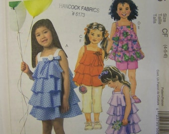 SWEET UNcut 2006 McCall's M5085 Layers of FLOUNCES Dresses, Tops, Capri Pants and Shorts pattern sz 4-5-6