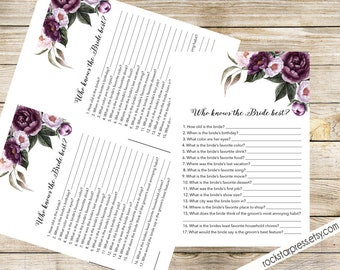 Who Knows the Bride best Game Card, Printable, Instant Download - Floral Shower Invite Purple, Plum, Gold _ 1308