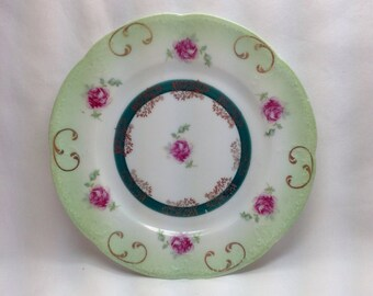 Vintage Kretschman Elbogen Green Pink Rose Flower Gold Filigree Trim Porcelain Saucer Dish Plate Austria