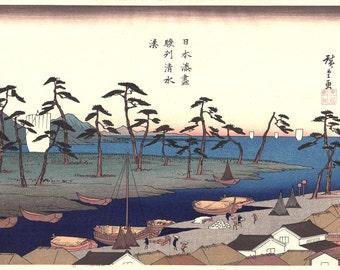 "Japanese Ukiyoe, Woodblock print, Hiroshige, ""The Harbor at Shimizu in Suruga Province"""