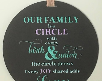 Our Family is a Circle sign
