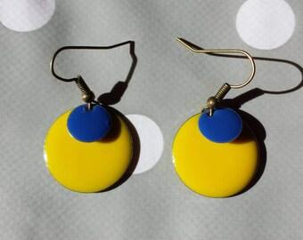 Earrings blue lemon yellow sequins