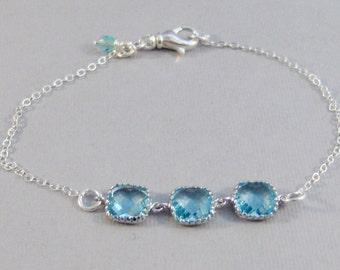 Aqua Breeze,Bracelet,Aqumarine Bracelet,Aquamarine Birthstone,Birthstone Bracelet,Bridesmaid Bracelet,Blue Bridesmaid,Silver Bracelet,Valley